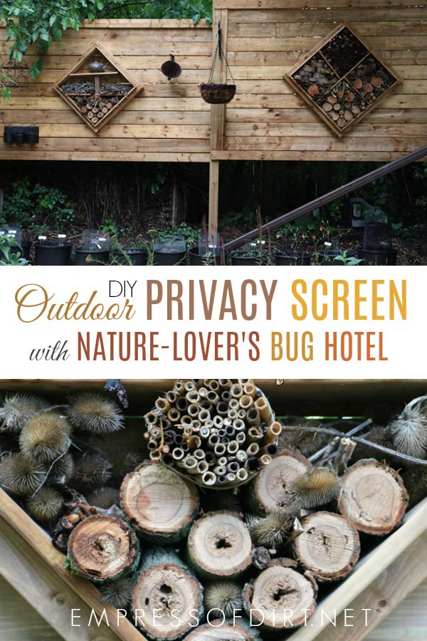 This freestanding, outdoor privacy screen has beautiful built-in bug hotels.