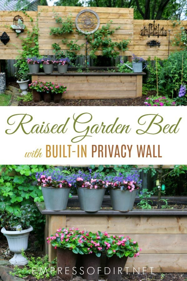 If you're building a raised garden bed, it's easy to extend the posts and add a privacy wall.