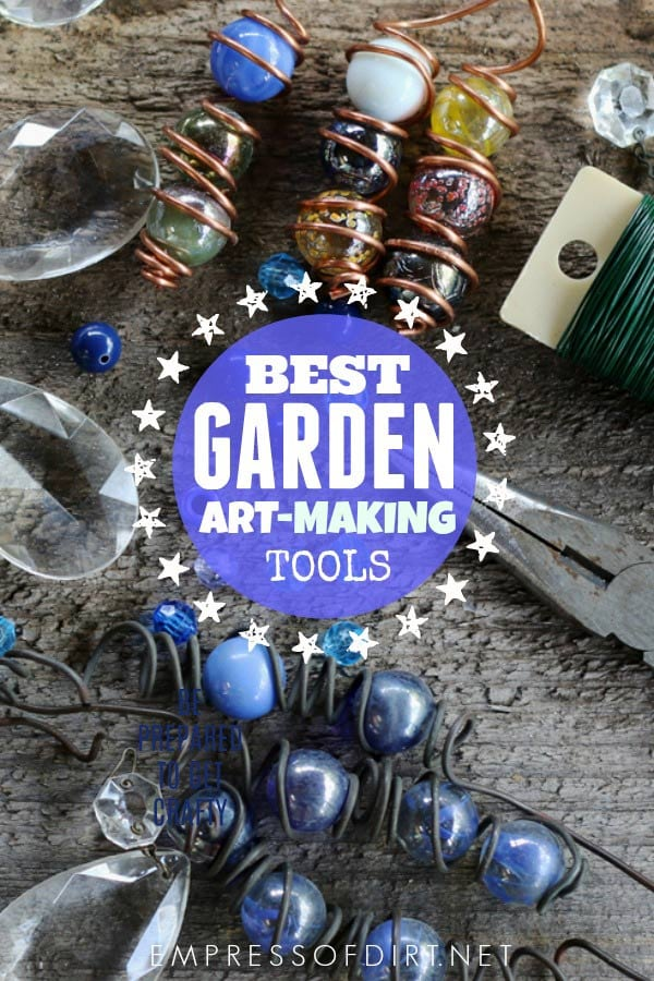 Essential tools and supplies for garden art-making.