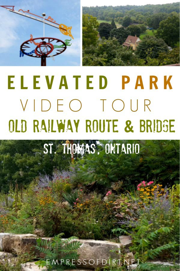 The Elevated Park on an old railway line and bridge in St. Thomas, Ontario, Canada.
