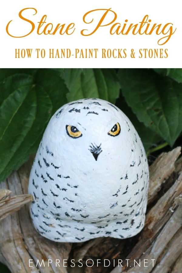 Tips and tutorials for hand-painting rocks and stones. Easy indoor and outdoor craft project.