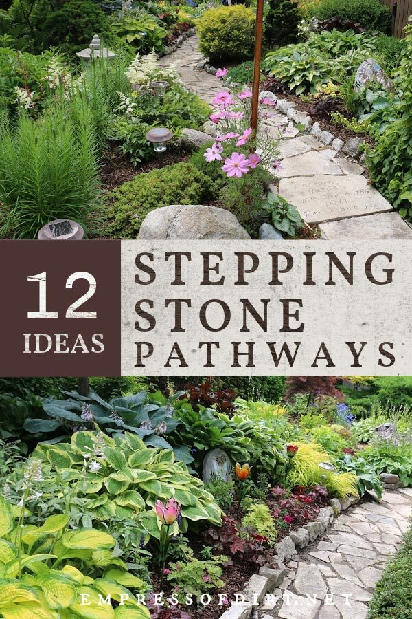 Examples of stepping stone pathways in gardens.