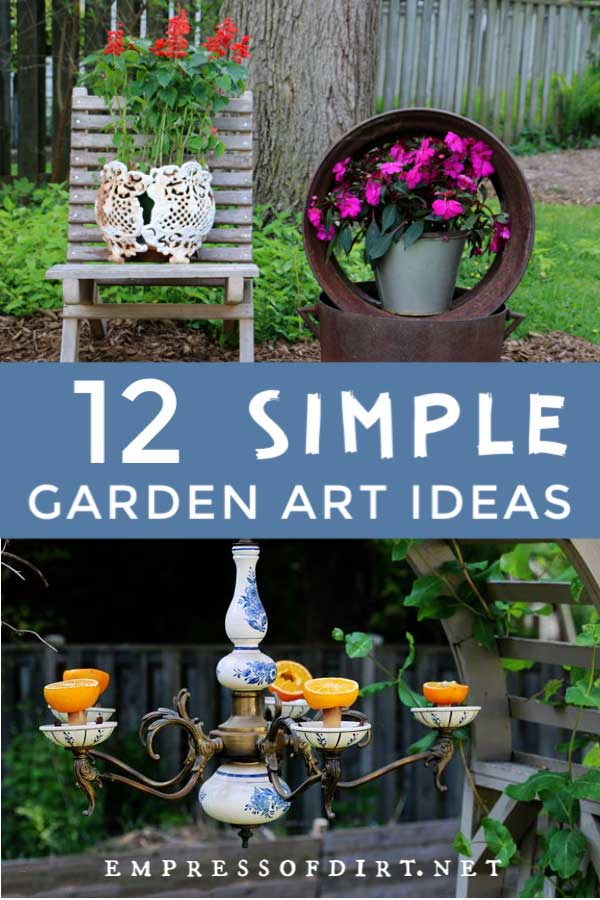 Examples of garden art from items found around the house including an old chair and metal tire rim.