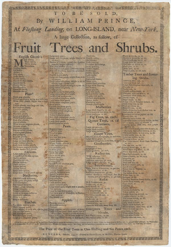 Fruit tree and shrubs catalog 1793