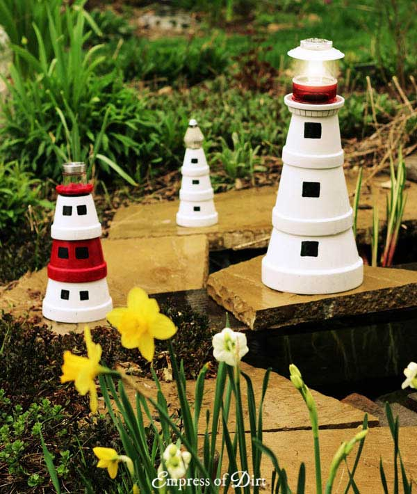 Make a clay pot garden art lighthouse