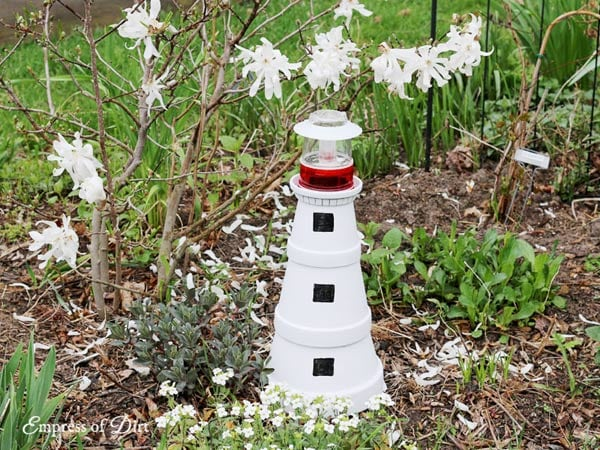 Garden art lighthouse.