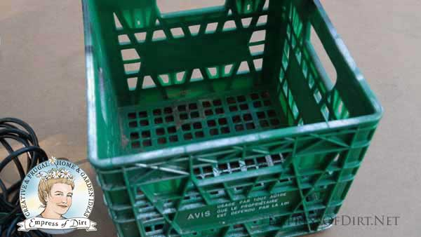 Plastic milk crate.