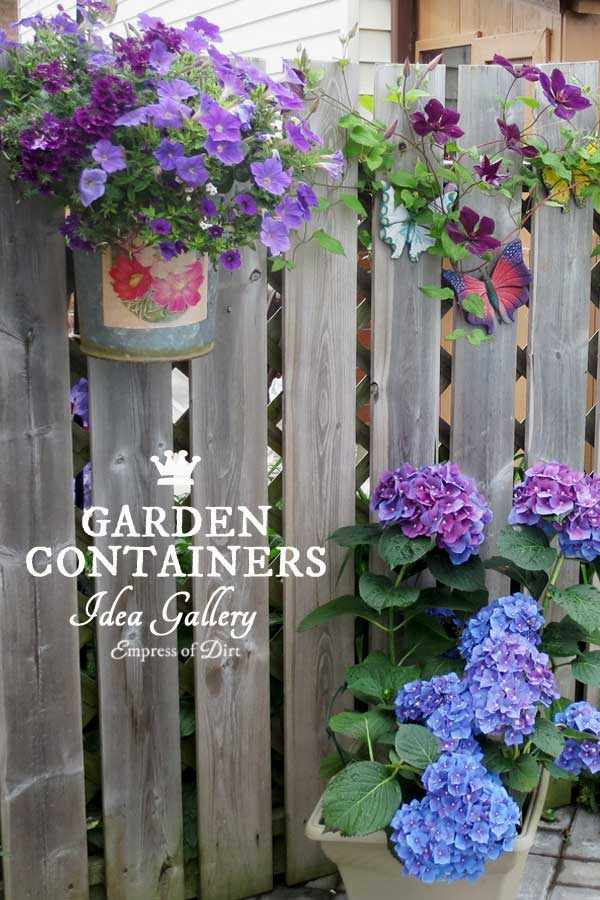 These unique container gardening ideas will give you plenty of creative garden ideas for your outdoor space. We've got flowers spilling over wheelbarrows, recycled buckets, wood planters, barrels, and boots. There are so many possibilities!
