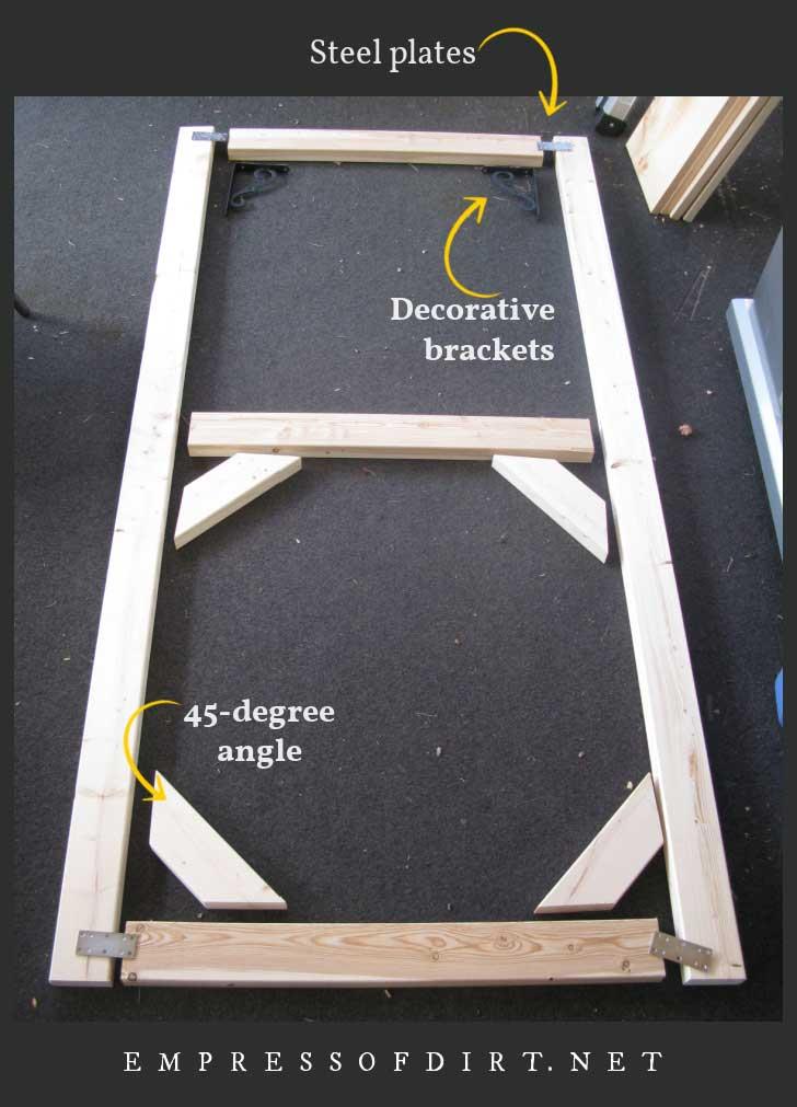 Wood pieces for assembling custom patio screen door.