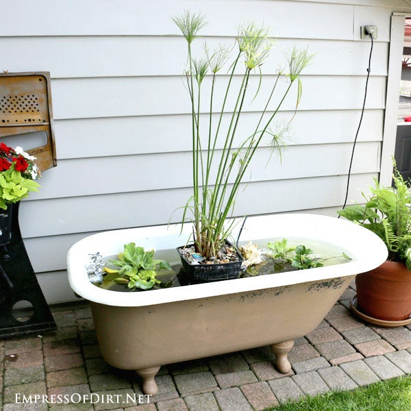 This gallery shows some examples of bathtubs (and a hottub) converted into garden ponds and basic instructions for setting one up. Using an old clawfoot tub (or a more modern style if you like them) is a super easy way to create a pond for the patio or garden.