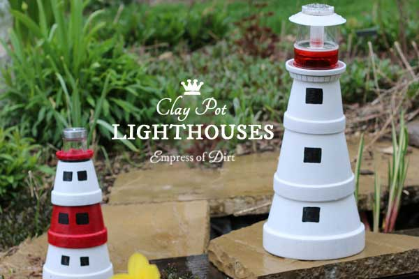 Hand-painted garden art lighthouses