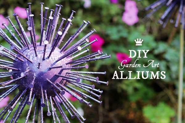 DIY garden art alliums