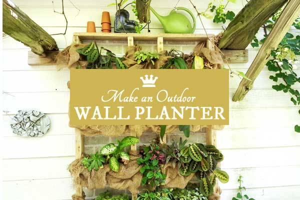 DIY Outdoor wall plant shelf with burlap