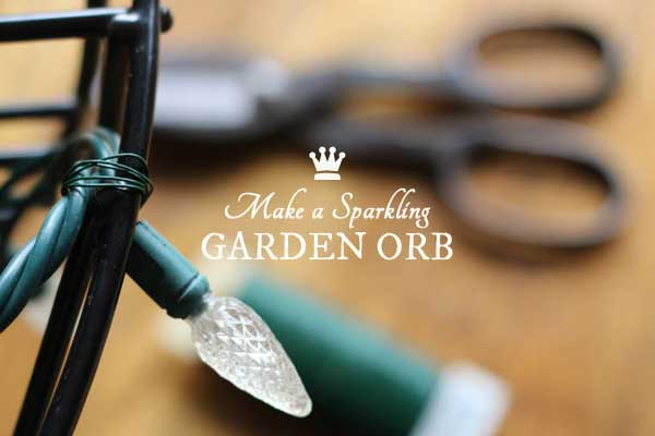 DIY Use-What-You-Have Sparkling Garden Orb made from metal flower planters