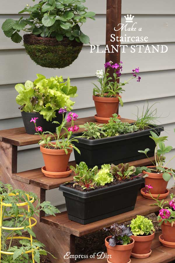 Create a vertical garden with this DIY staircase plant stand. This design offers lots of growing space for plants of all heights including fruits, vegetables, and herbs, plus extra space for hanging baskets.