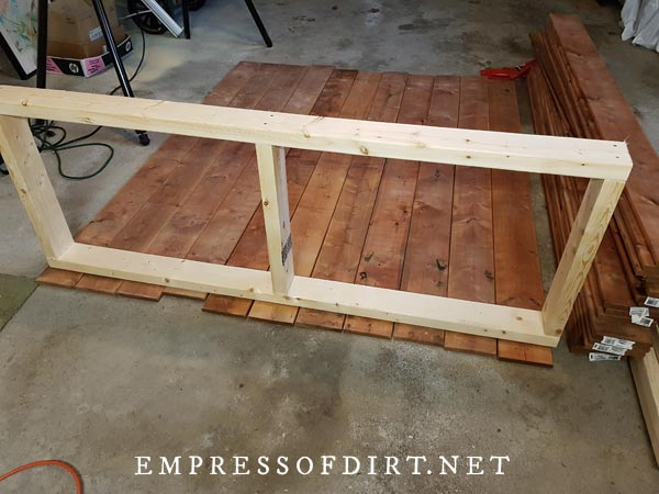 Base frame of DIY garden tool shed.
