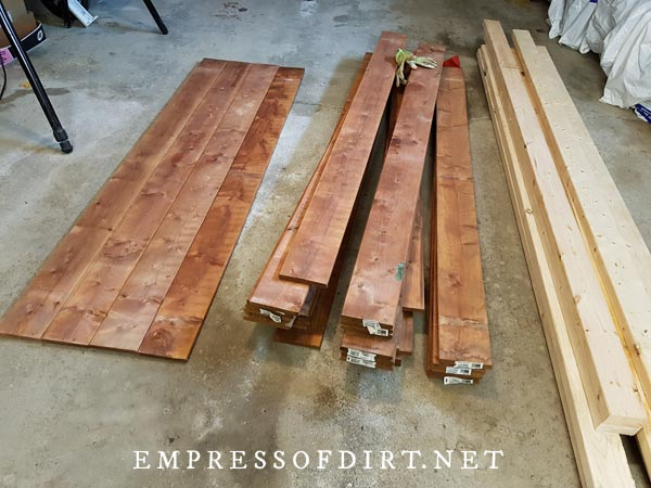 Lumber for building tool shed.