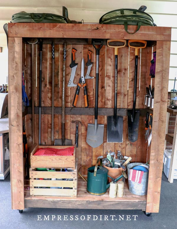 Garden tools shed with garden supplies.