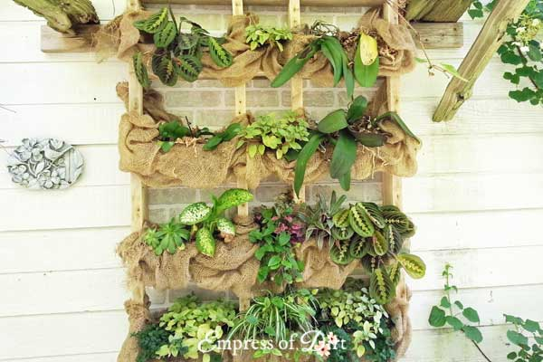 DIY Outdoor wall plant shelf with burlap
