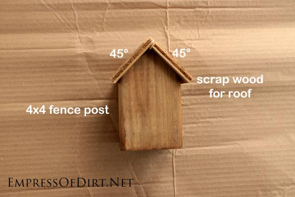 Wood for creating tiny cottages | Here's a good soda can craft. Use old fence post wood and pop cans to create these adorable tin-roof cottages. Use a crafting punch tool to make shingles from the metal. Decorate them with nail holes and you're all set.