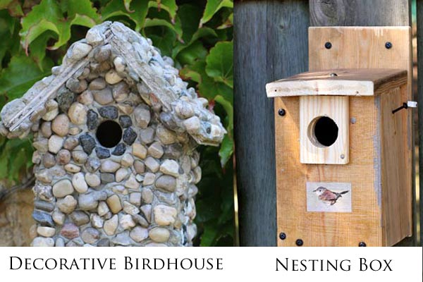 Decorative birdhouses are used as garden art and may not be safe for birds. Nesting boxes are designed for specific birds to use for nesting and raising their young. These should not be heavily decorated or painted.