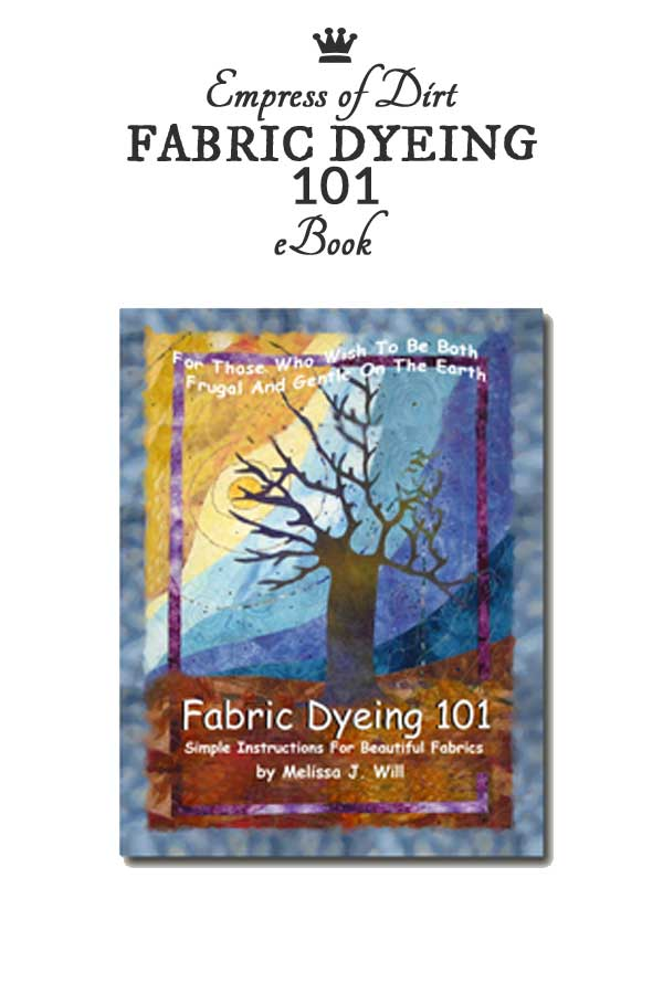 The Fabric Dyeing 101 ebook teaches how to create beautiful hand-dyed cotton fabrics using Procion MX dyes. These are the same dyes used for tie-dyeing.