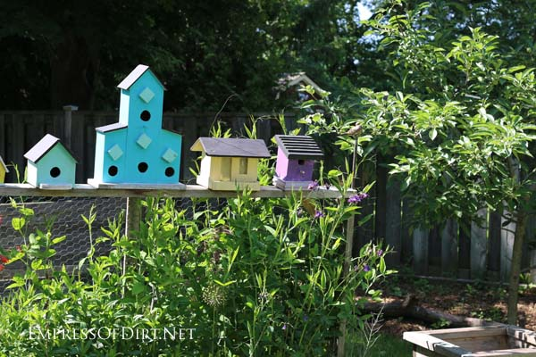 A row of decorative birdhouses in the back garden.