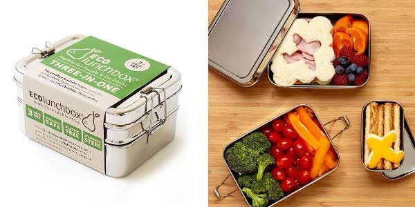 A 3-layer stainless steel lunch box.