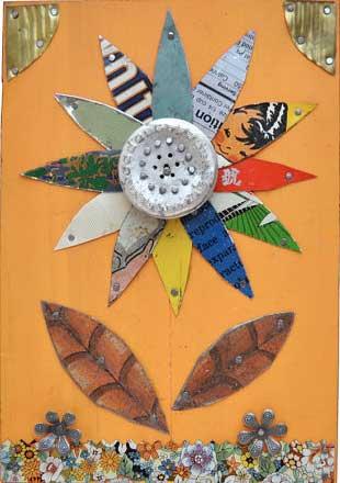Vintage tin flower art by ElizabethRosenArt on Etsy