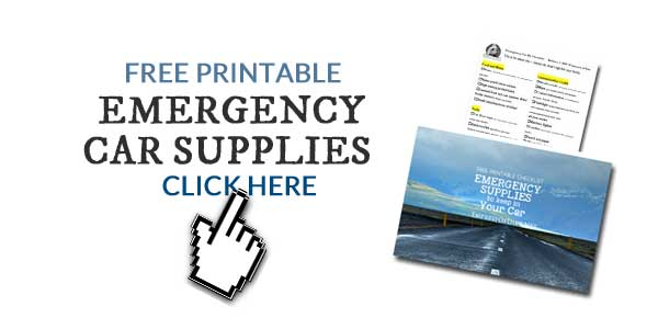 A free printable checklist of supplies to keep in your car in case of emergency.