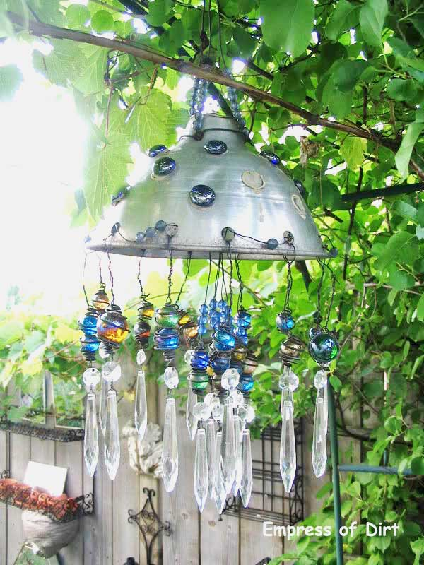 Charmant Make A Garden Art Chandelier Using Some Old Household Junk, Marbles, And  Lamp Crystals