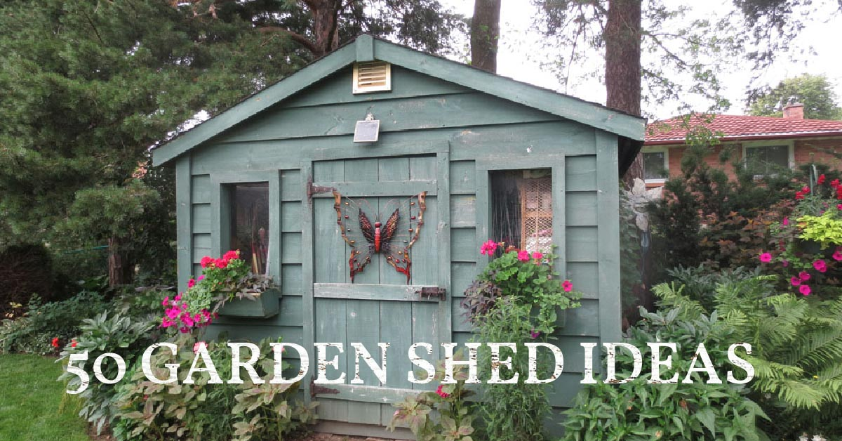 Blue garden shed with butterfly art.