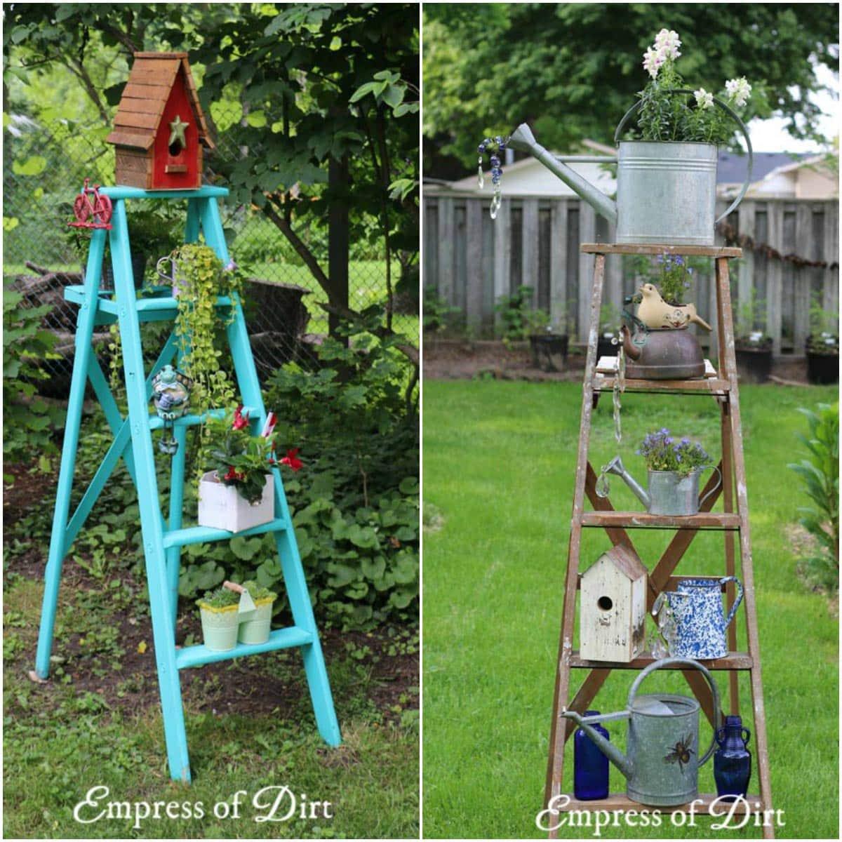 Wood Ladder Garden Art Ideas