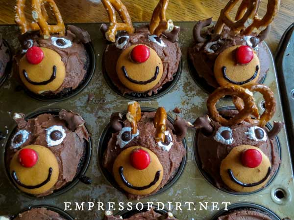 Rudolph the Red Nosed Reindeer chocolate Christmas cupcakes.