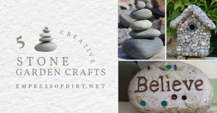 Creative garden crafts made from stones including a birdhouse and stacked stones.