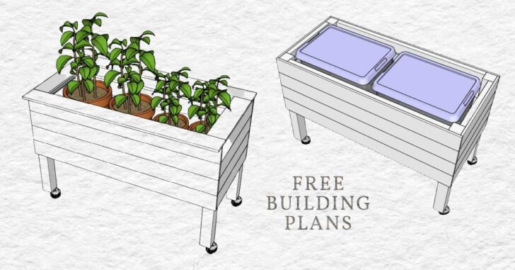 Tall raised bed with flower pots and plastic bins.