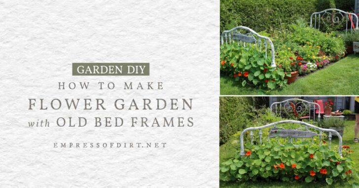Old bed frames surrounding a flower garden.