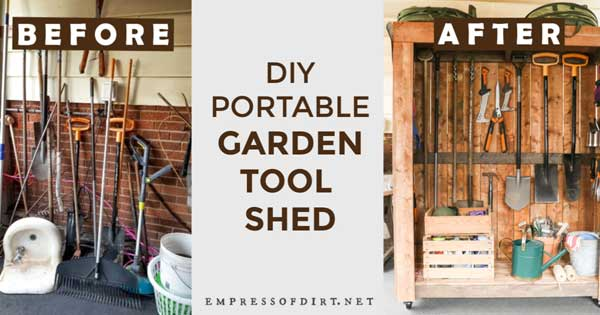 Garden tool organization before and after photos.