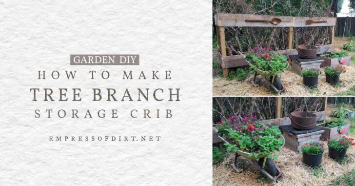 Tree branch crib in backyard garden.