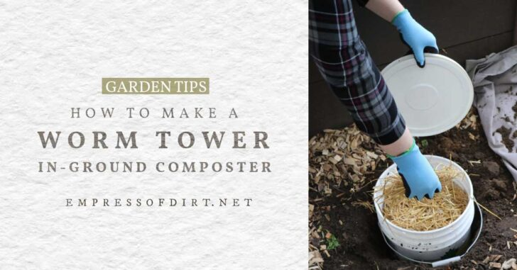 In-ground worm tower for composting.