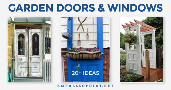 Old doors used as outdoor garden decor.