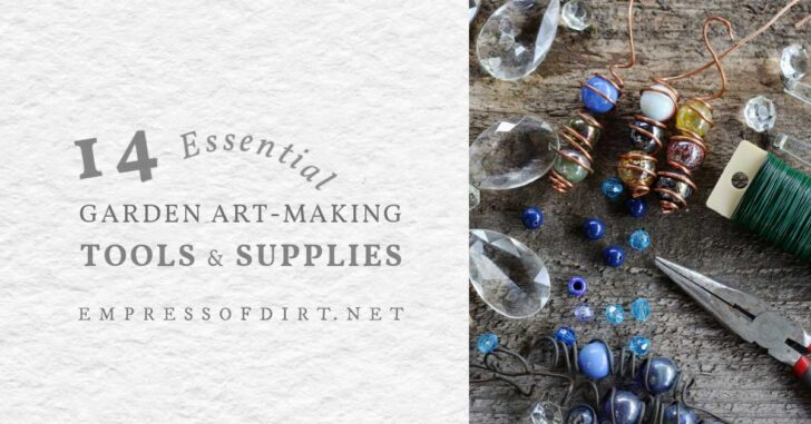 Garden art-making supplies including pliers, wire, marbles, and crystals.