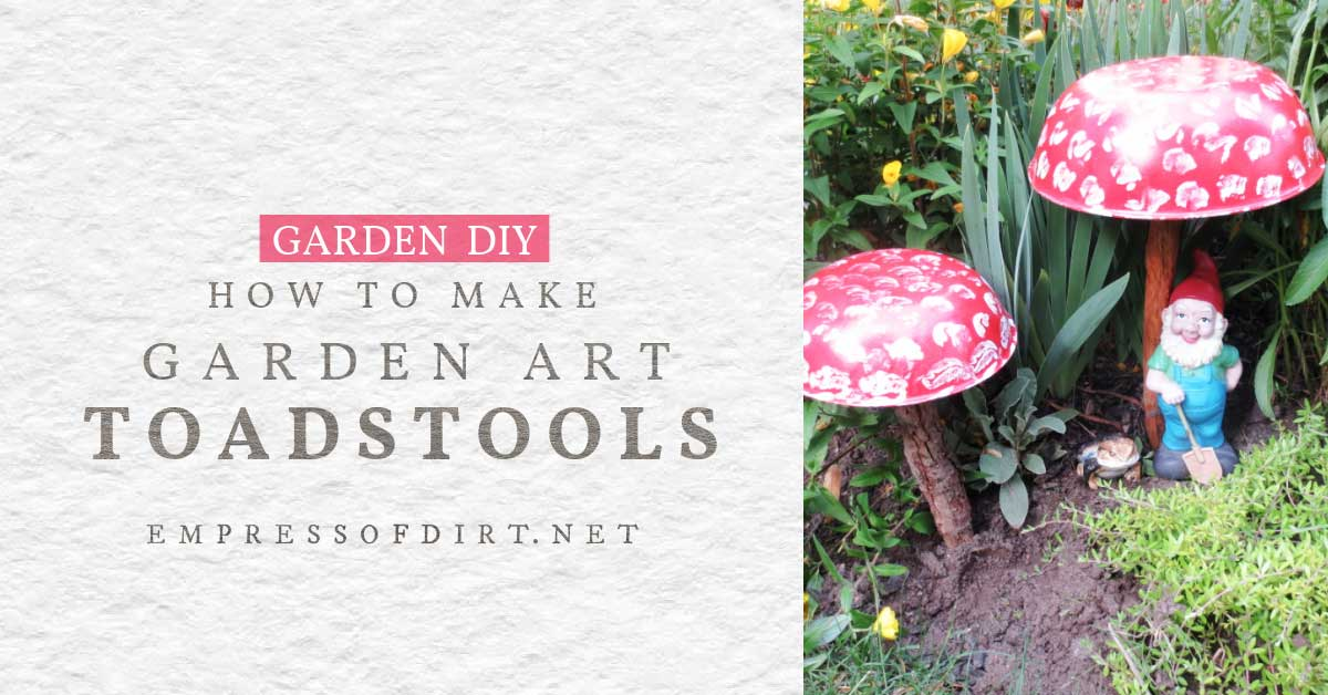 Garden art toadstools made from wooden bowls.