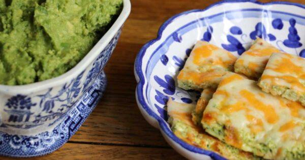 Cheesy keto breadsticks with guacamole dip.
