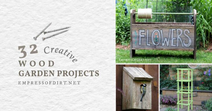 wood garden trug, wood nesting box, and wood tomato cage.