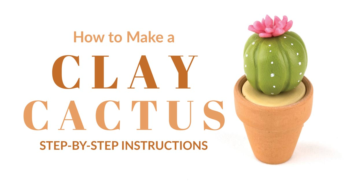 Clay cactus made from polymer clay.