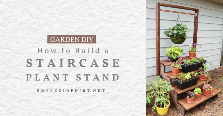 Staircase plant stand with a variety of potted plants.