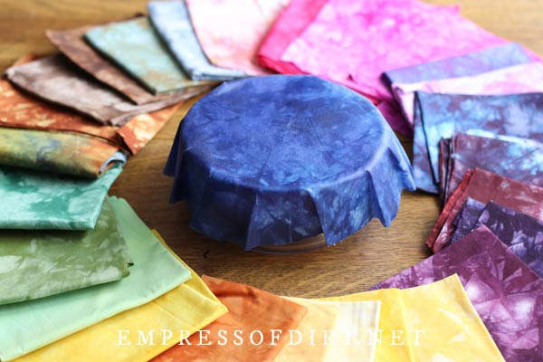 Colorful fabrics for beeswax wraps.