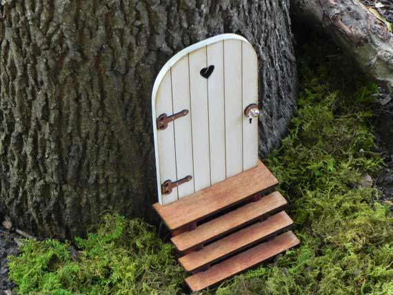 Fairy door with key and stairs | TheLittleHedgerow Etsy Shop