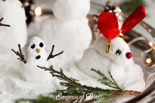 This fake snow recipe is perfect for making mini snowmen for an indoor, winter wonderland scene.